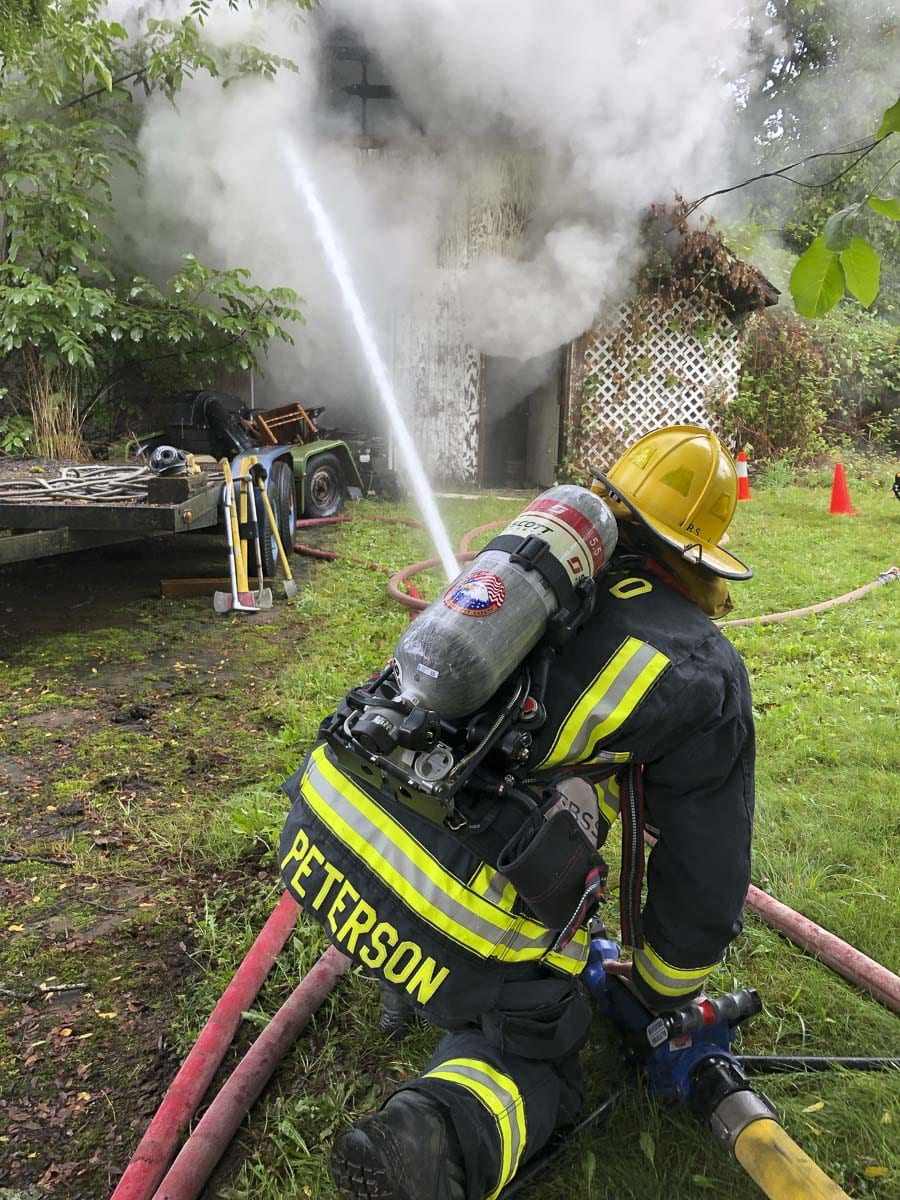 At about 11 a.m. on Wednesday, a crew from the Camas-Washougal Fire Department was dispatched to a report of a structure fire in the 3300 block of G Street in Washougal. Photo courtesy of Camas-Washougal Fire Department