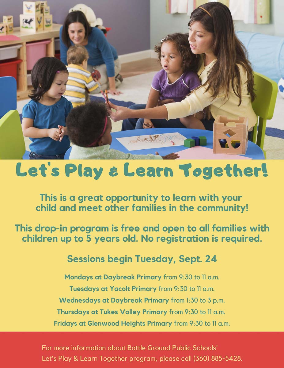 Let's Play and Learn Together is a free, weekly drop-in program for children up to five years old. Registration is not required in order to attend. Parents and grandparents are welcome to stop by with their children to engage in a variety of fun and educational activities.