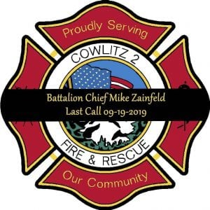 Cowlitz 2 Fire & Rescue officials regret to announce Battalion Chief Mike Zainfeld unfortunately took his own life on Sept. 19 after battling a job-related injury incurred by occupational stress.