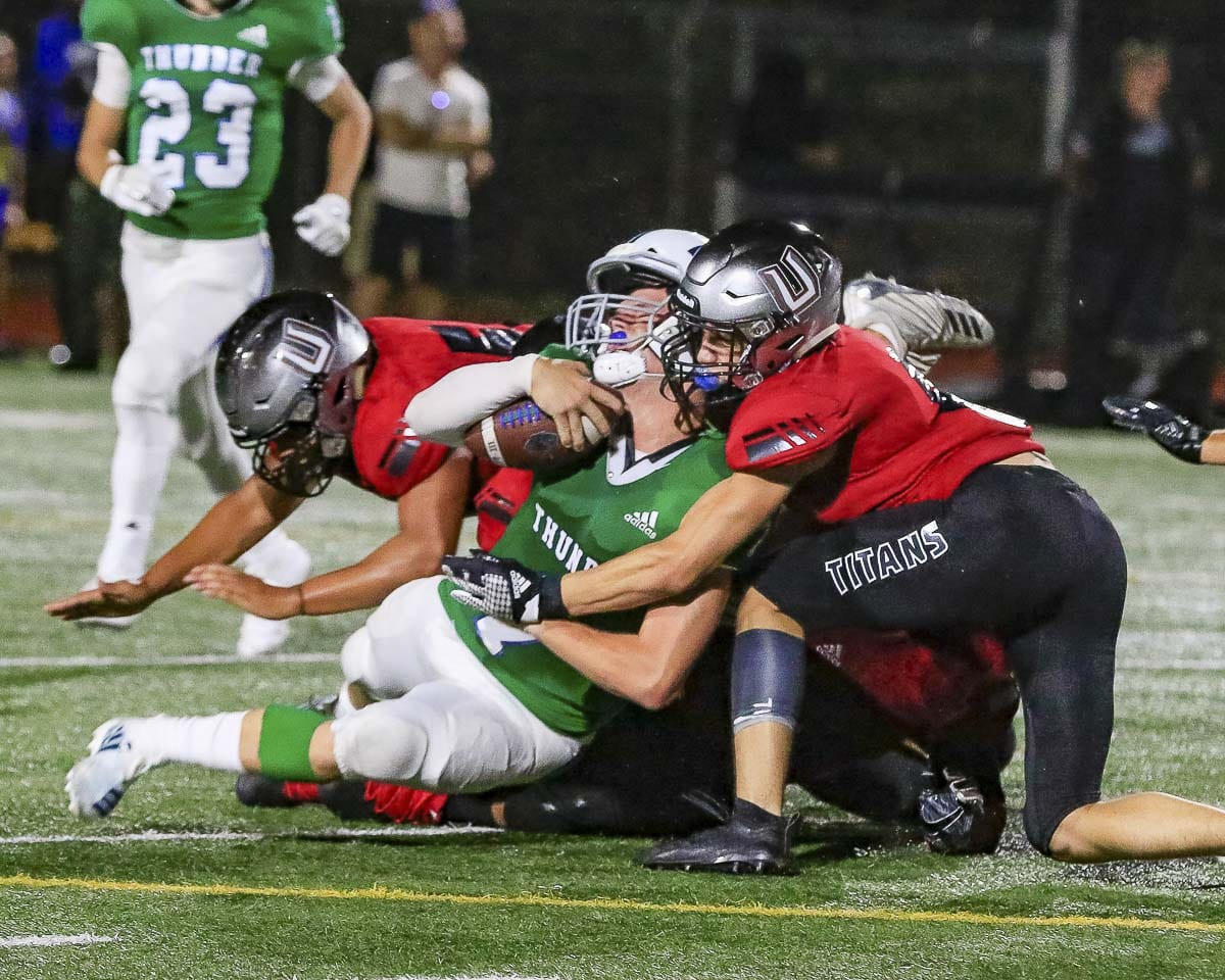 The Union defense only allowed one big play in Friday's opener and took down Mountain View for a loss of yardage on six plays. Photo by Mike Schultz