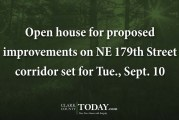 Open house for proposed improvements on NE 179th Street corridor set for Tue., Sept. 10