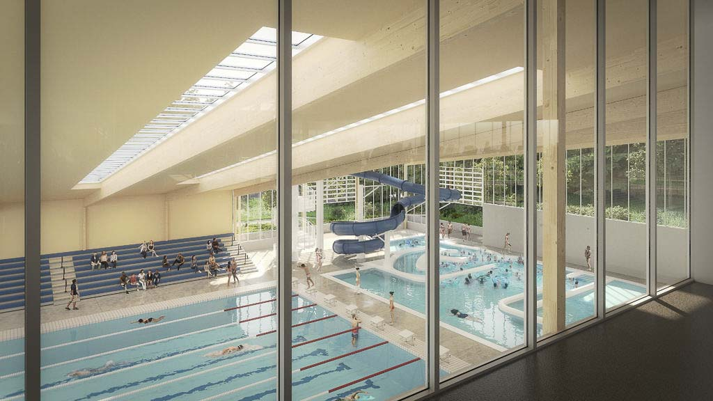 An interior rendering of the proposed three-story community aquatics center, estimated at over $37 million for the building. Photo courtesy of the city of Camas