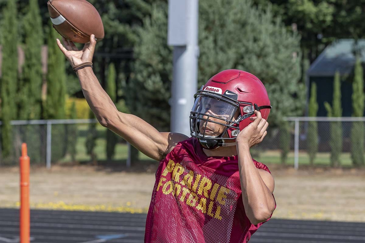 AJ Dixson of Prairie is one of the WIAA's state athletes of the week after he accounted for seven touchdowns for the Falcons in Week 3. Photo by Mike Schultz