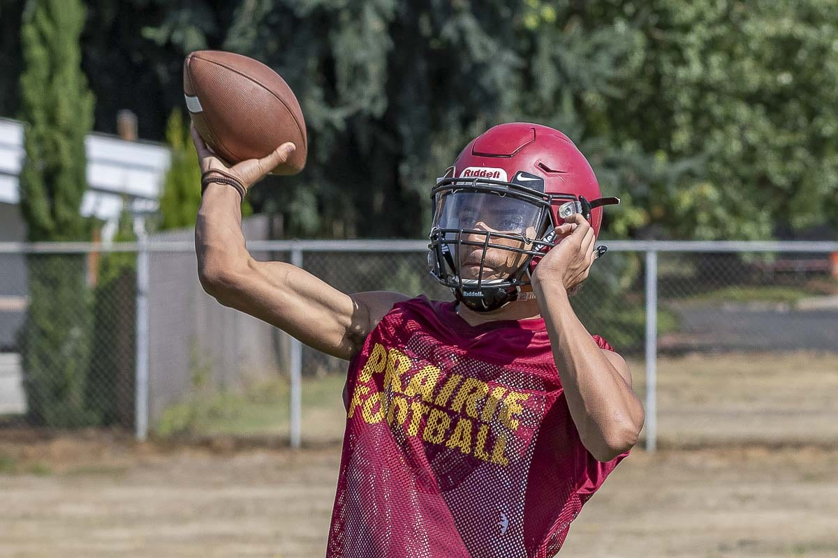Prairie quarterback A.J. Dixson has helped Prairie to a 2-0 start to the season. Photo by Mike Schultz