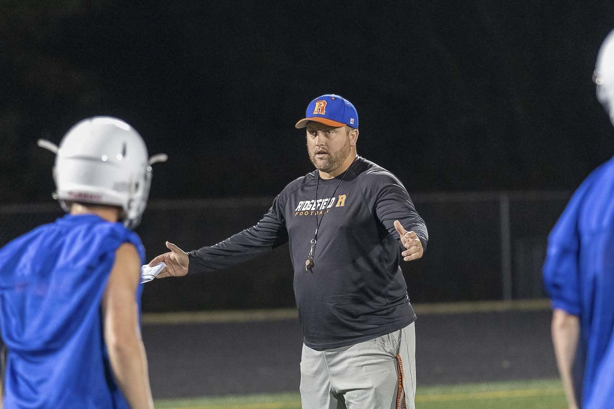Scott Rice is in his first year as the head coach at Ridgefield after previously serving as an assistant at Skyview. Photo by Mike Schultz