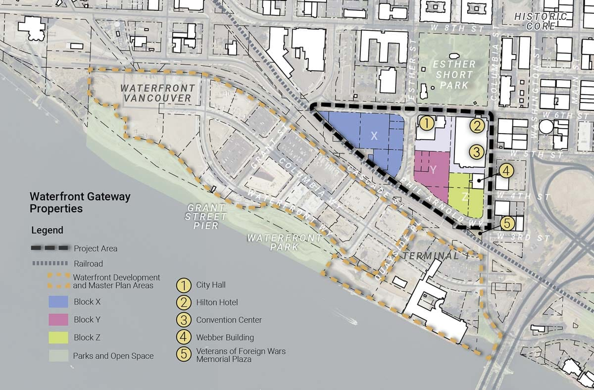 The 6.4-acre Waterfront Gateway area encompasses the largely undeveloped properties to the south and west of Vancouver City Hall and the Convention Center/Hilton Hotel. Map provided by city of Vancouver