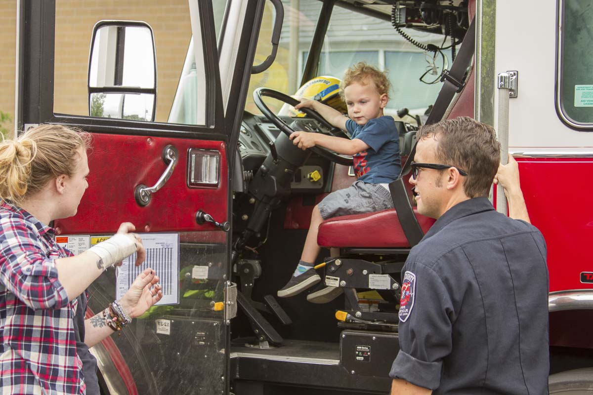 The Woodland Fire Department gave kids tours of one of their ladder trucks. Photo courtesy of Woodland Public Schools