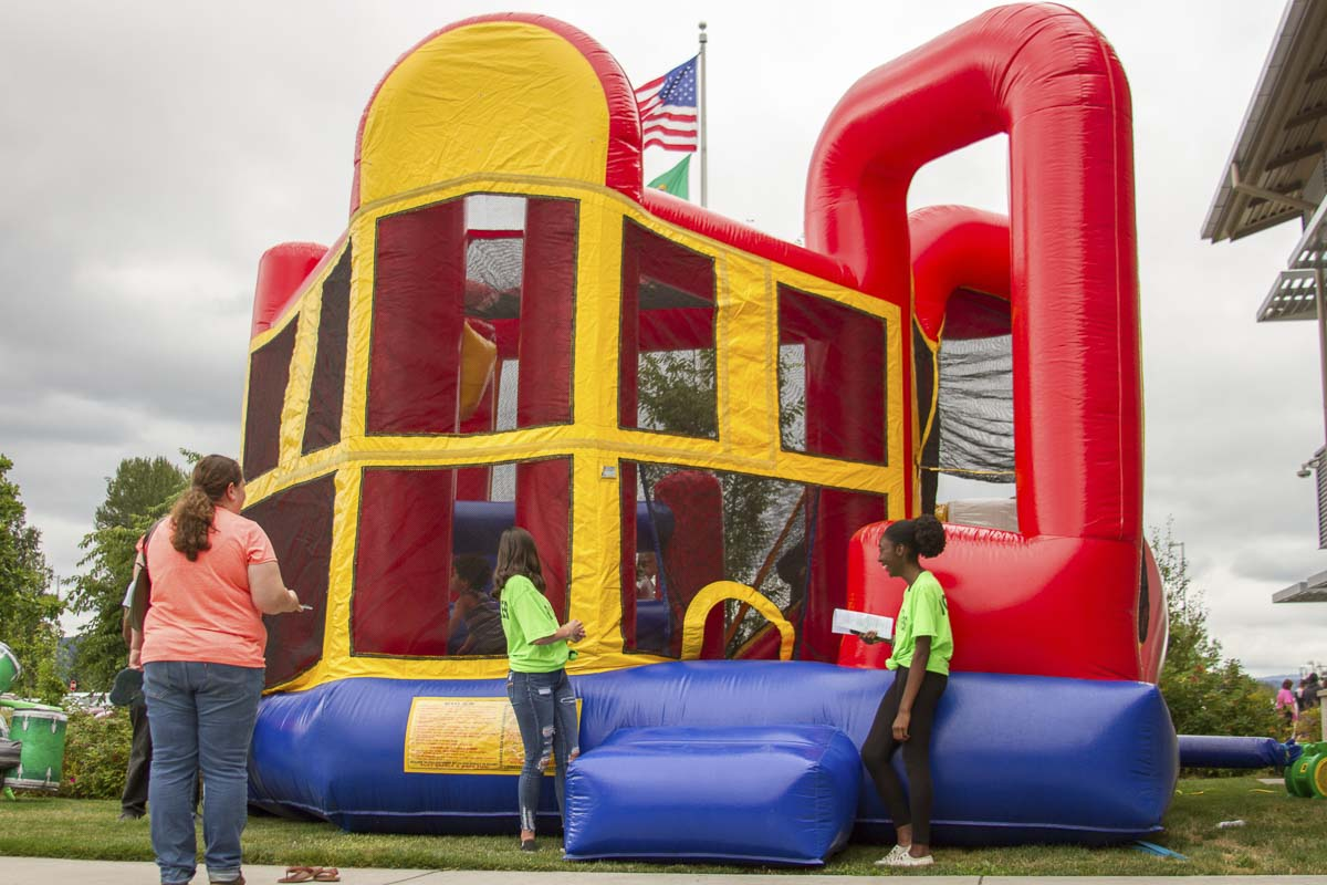 Families could also play games or jump around in the bounce houses. Photo courtesy of Woodland Public Schools