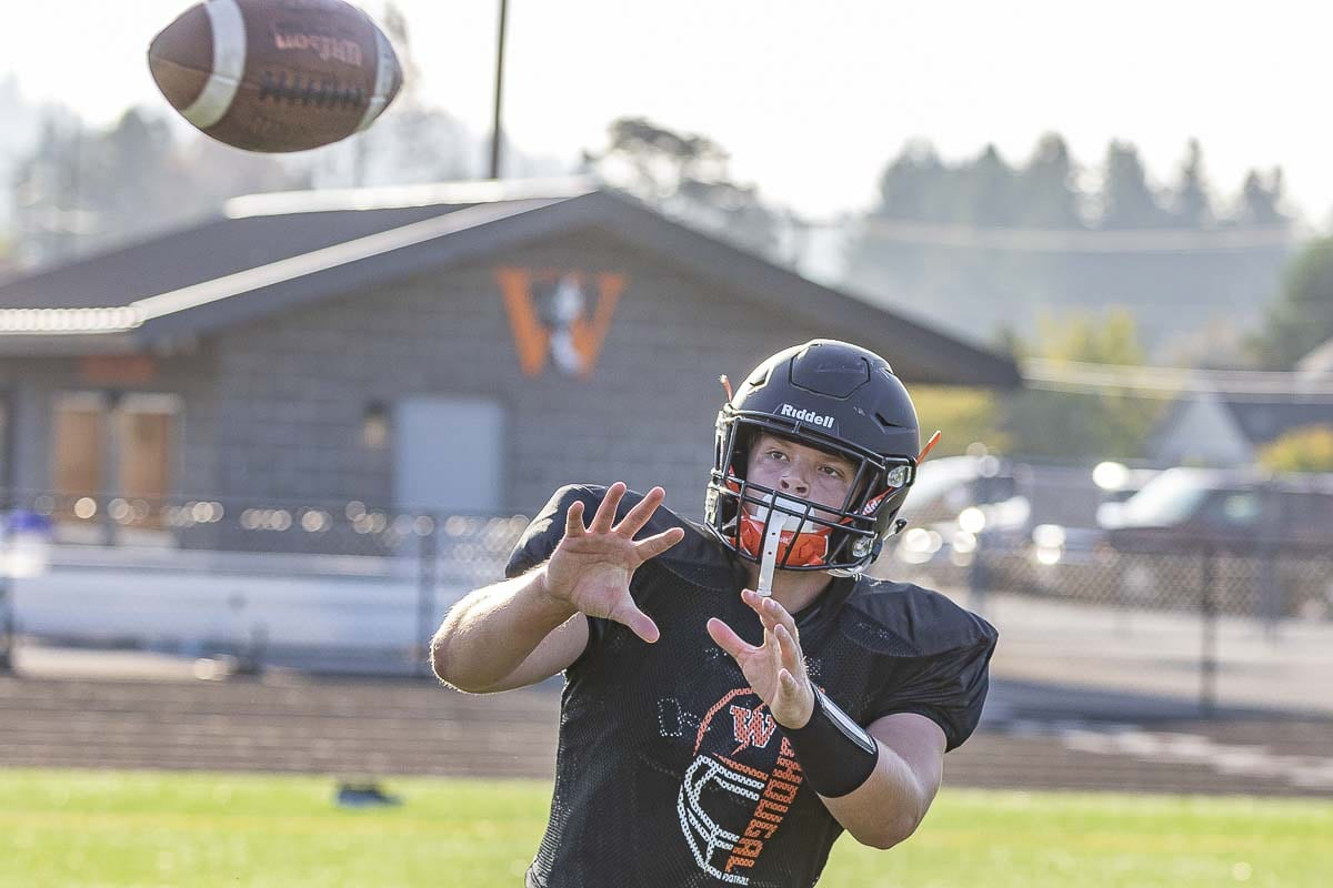 Jakob Davis, who injured his knee in basketball season, is back and ready to be a key target in the Washougal air attack this football season. Photo by Mike Schultz
