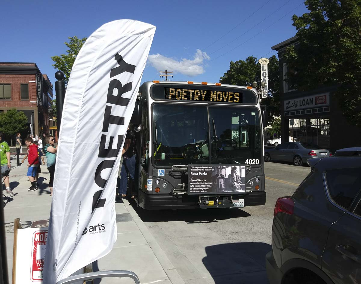 One of C-TRAN's buses is seen at Turtle Place in Vancouver during the launch of Poetry Moves season six. Photo Courtesy of Poetry Moves