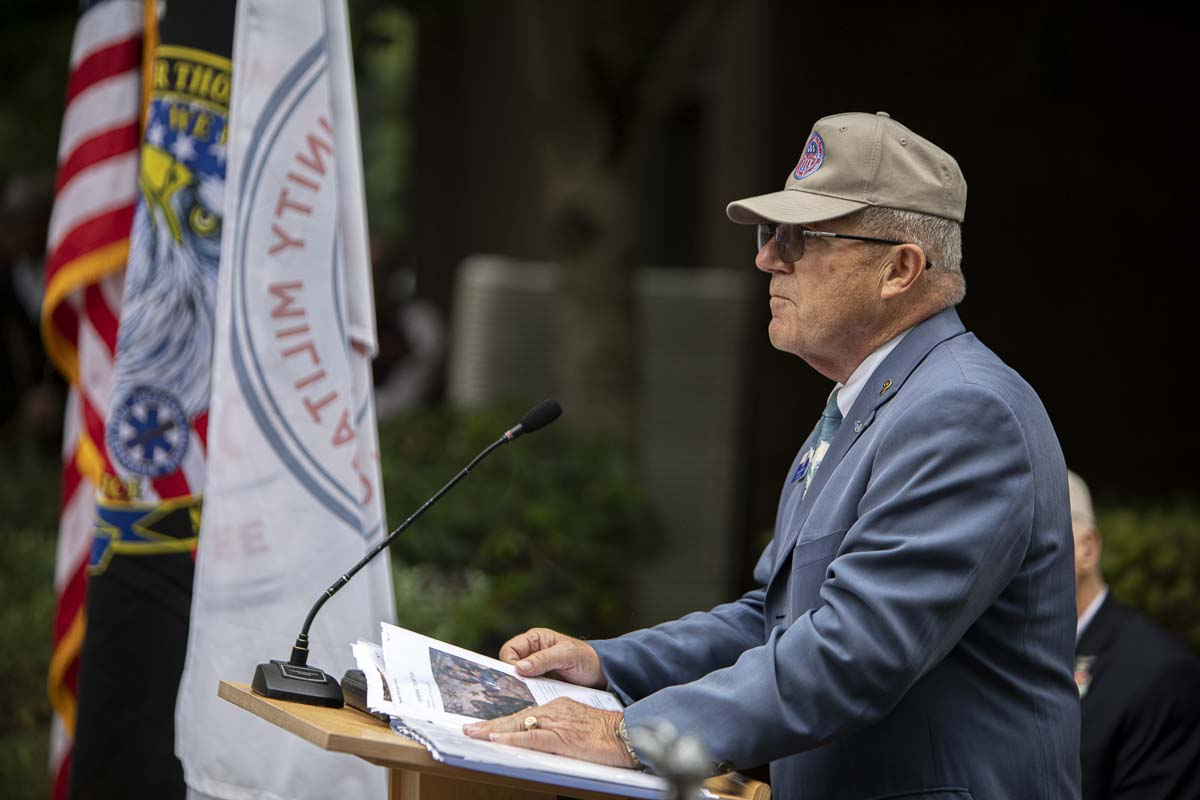 Col. Larry J. Smith (Ret.) USA emceed the 2019 Patriot Day ceremony outside Vancouver City Hall. Photo by Jacob Granneman