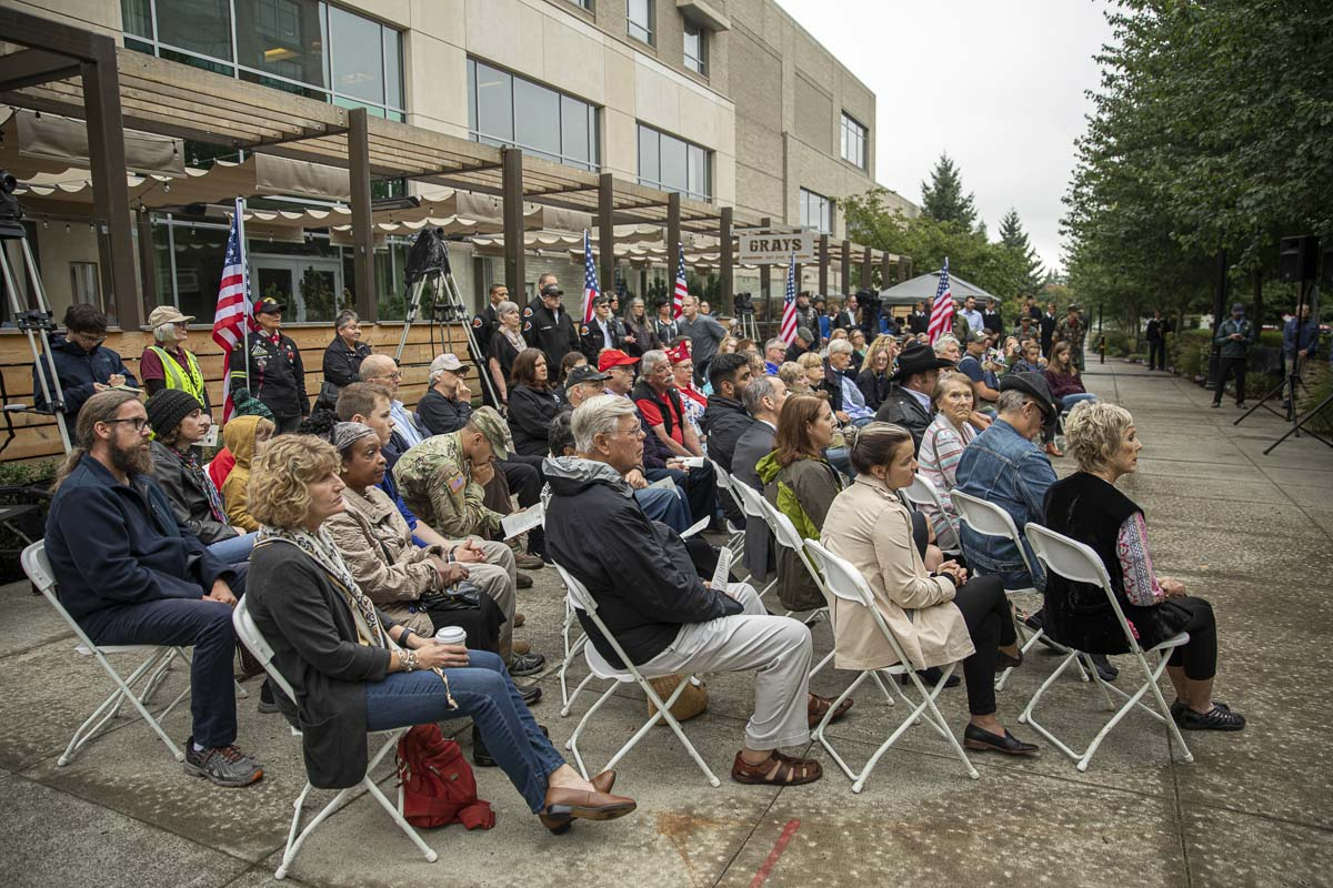 Many community members, elected officials, first responders, and their families gathered to remember the 9/11 attacks in Vancouver. Photo by Jacob Granneman