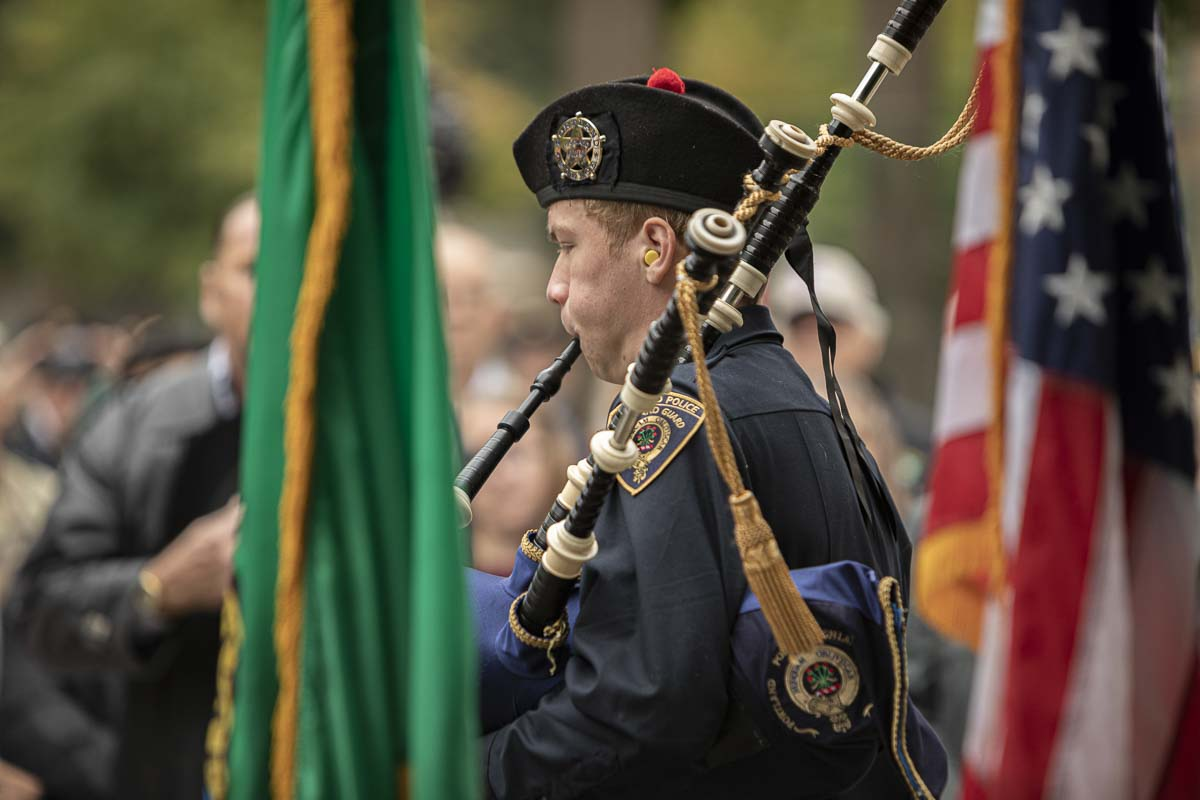 "Gustav Baur, of the Portland Police Highland Guard, performs ""Amazing Grace"" on the bagpipes during the close of the ceremony. Photo by Jacob Granneman"