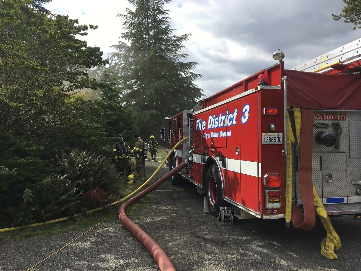 Clark County Fire District 3 crews responded to a house and shop fire at 1108 SE 20th Ave, Battle Ground on Thursday (Sept. 19). Photo courtesy of Clark County Fire District 3