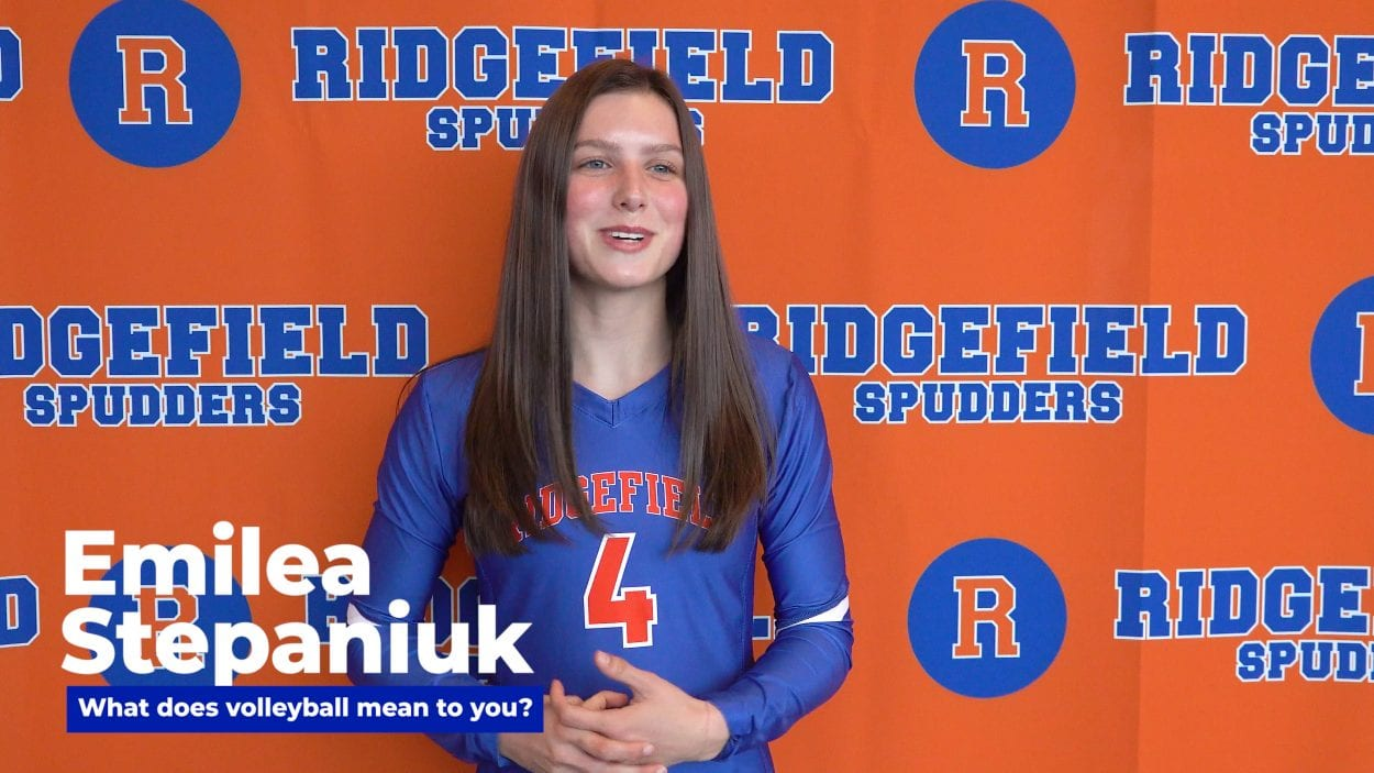 Ridgefield's Emilea Stepaniuk says it is stressful trying to defend a state title, but it is fun stress. Other teams want to knock off the champs, and that just makes the Spudders even more focused. Photo by Mike Schultz