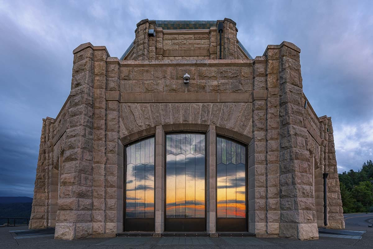 The over 100-year-old Vista House , seen here, was originally a rest stop, and now serves as a viewing area and museum. Photo by Mike Schultz