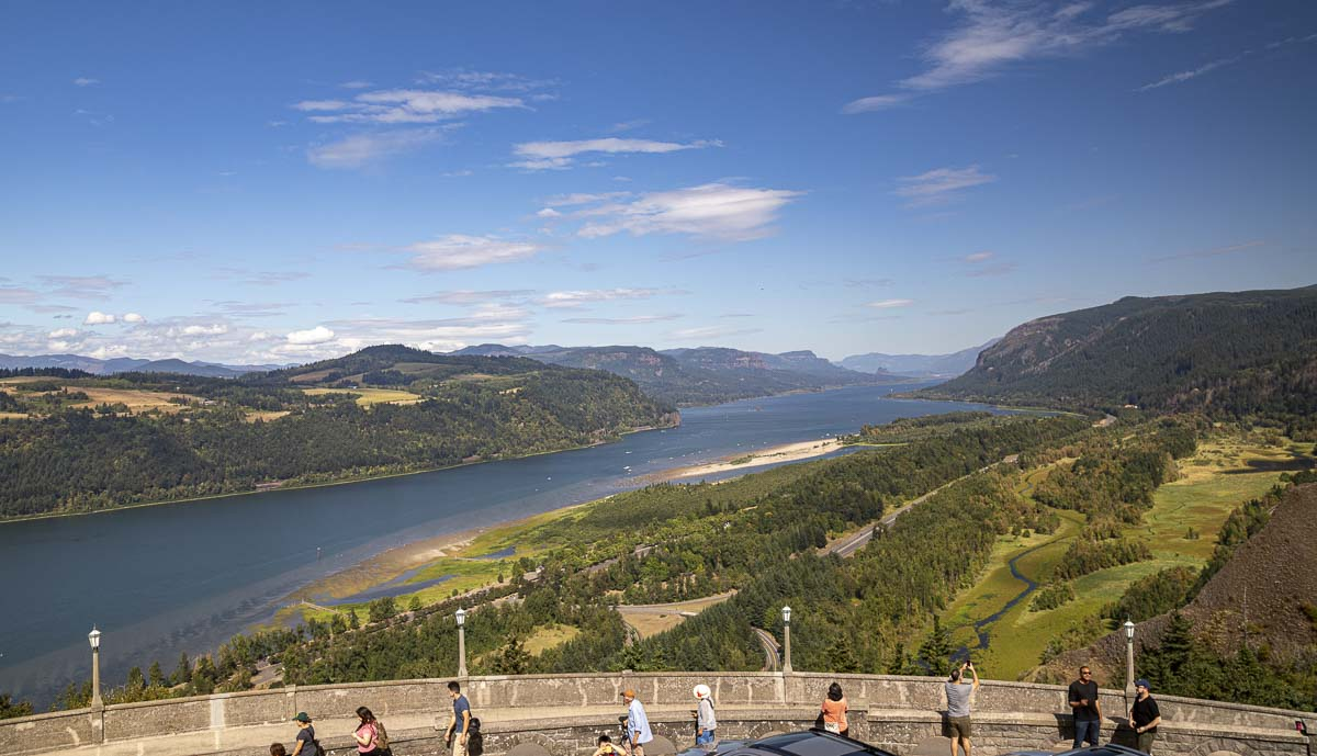Seen here is a view of the Columbia River Gorge looking eastward from atop the Vista House. Photo by Jacob Granneman