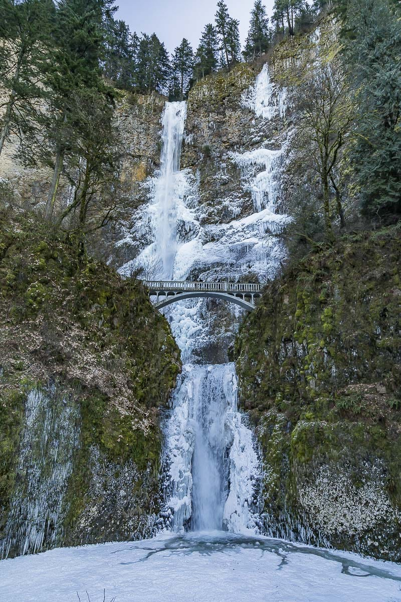 In the winter time, Multnomah Falls is often frozen over, as is seen here. Photo by Mike Schultz