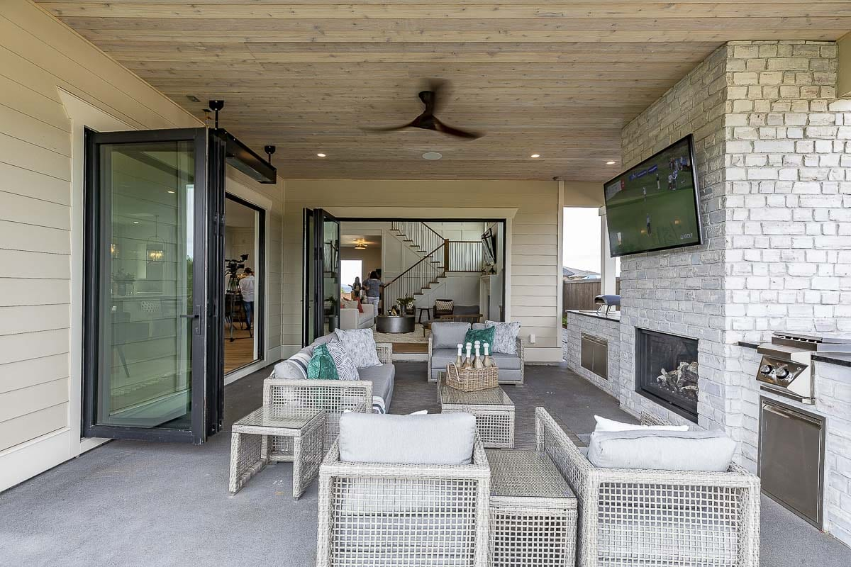 The outdoor living space of The Hamlin, by Affinity Homes, is shown in this photo. Photo by Mike Schultz