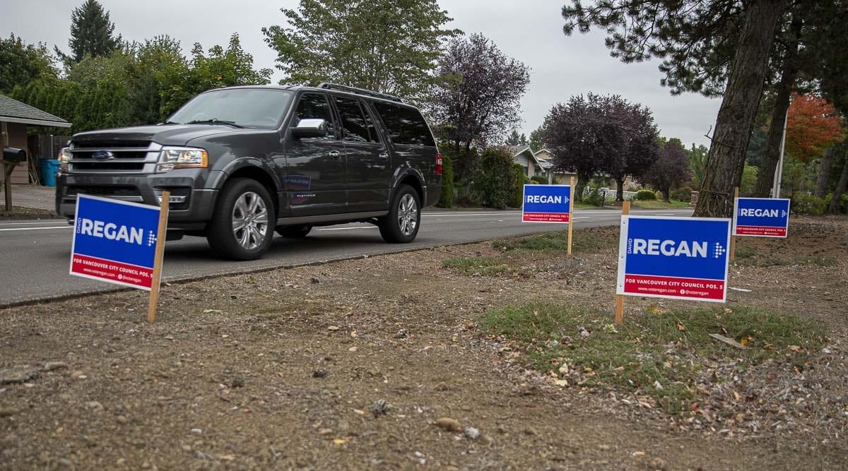 Campaign signs for Vancouver City Council candidate David Regan dot McGillivray Boulevard. Photo by Jacob Granneman