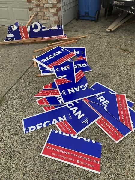 Cut up campaign signs for Vancouver City Council candidate David Regan are left piled on a driveway. Photo courtesy David Regan
