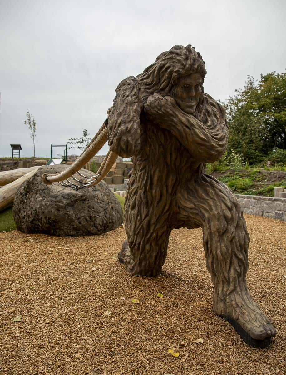 One of the more recent additions to Washougal's public art scene; Eega the bigfoot statue at the natural play area is some nine feet tall. Photo by Jacob Granneman