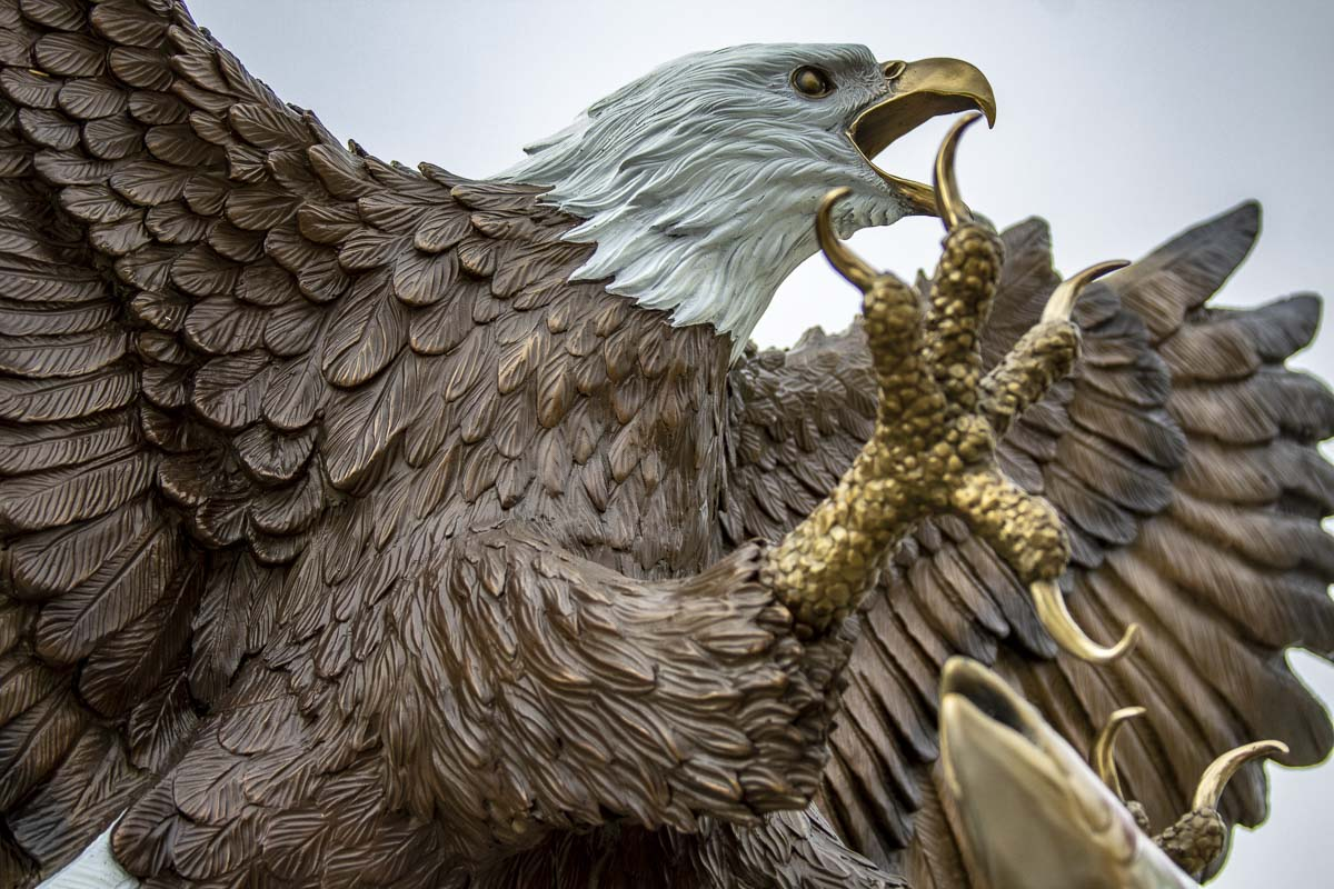 This bronze bald eagle statue in Waterfront Park was installed earlier this year and features the work of an area sculpture. Photo by Jacob Grannema