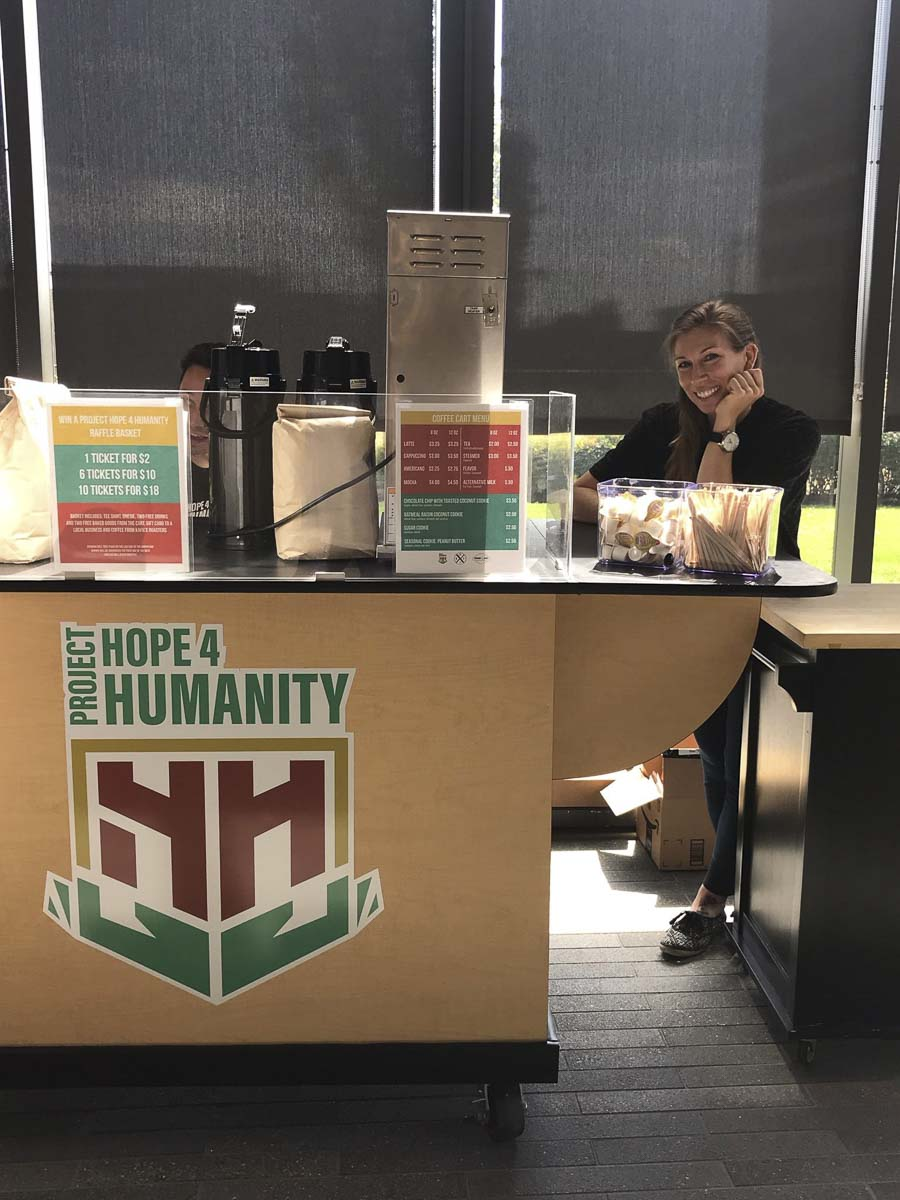 Project Hope 4 Humanity President and CEO Paige Uhlemeyer is seen here at the nonprofit's first coffee cart in the Vancouver Community Library. Photo courtesy of Project Hope 4 Humanity