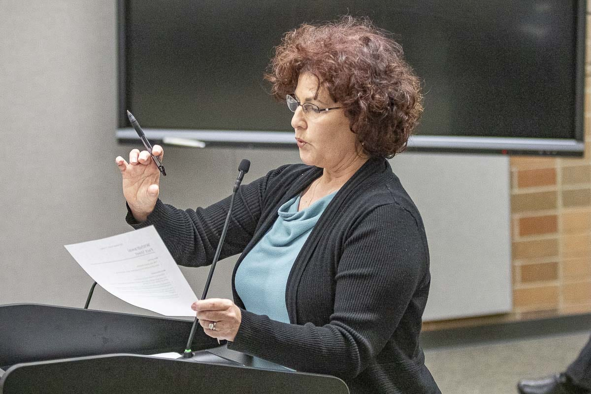 Dawn Seaver makes a point during her testimony at Monday's Board of Directors meeting in opposition to new sexual health curriculum being considered in the Battle Ground School District. Photo by Mike Schultz