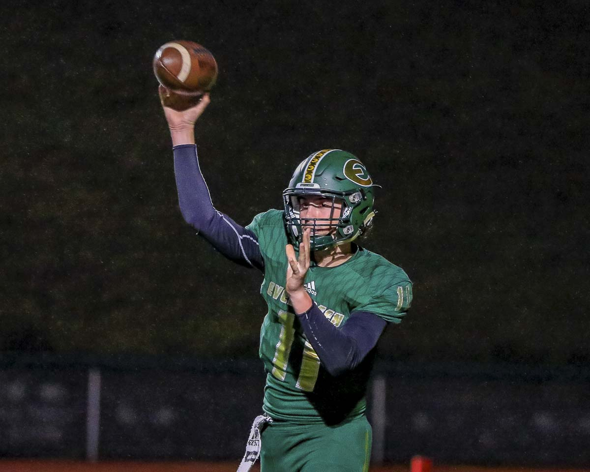 Evergreen quarterback Carter Monda has experienced a league title in baseball. Now, he gets a chance to win a league title in football in Friday's game against Prairie. Photo by Mike Schultz