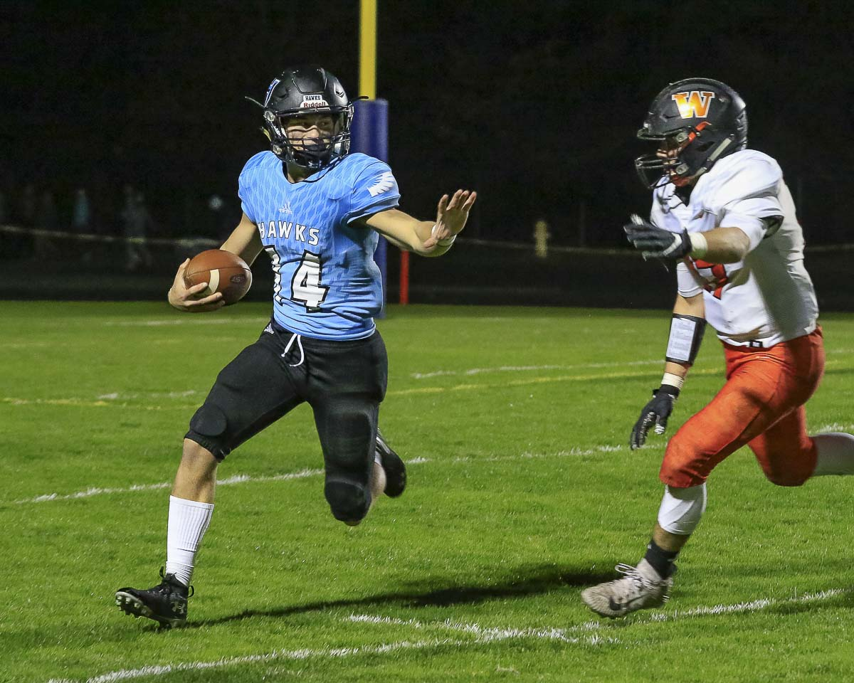 Levi Crum and the Hockinson Hawks are looking to secure the No. 1 seed from the 2A GSHL with a win over Ridgefield on Friday. Photo by Mike Schultz