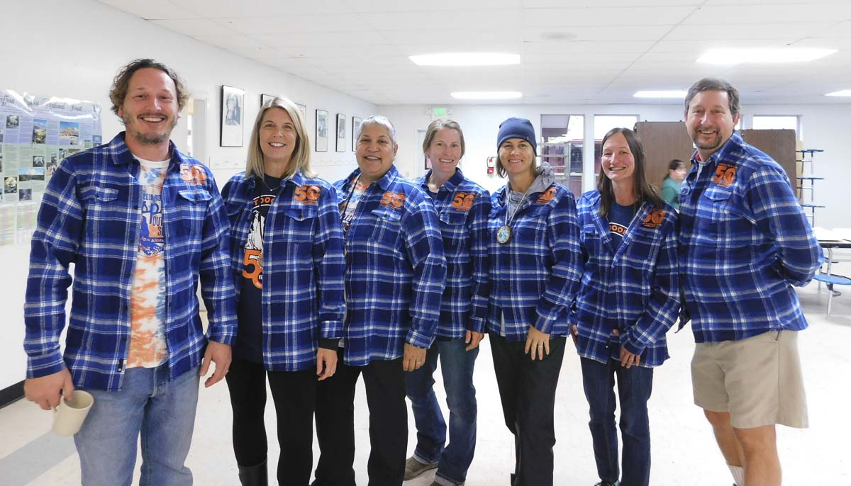 Flannel shirts were designed for staff to commemorate Ridgefield's 50th anniversary with Cispus Outdoor School this year. Photo courtesy of Ridgefield Public Schools