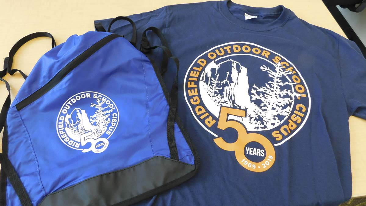 Special 50th anniversary day packs and T-shirts were given to Ridgefield students at Cispus Outdoor Camp this year. Photo courtesy of Ridgefield Public Schools