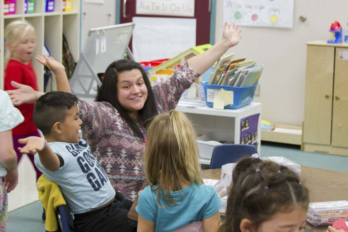 Anahisse Hodge teaches one of two dual language kindergarten classes at Columbia Elementary. Photo courtesy of Woodland Public Schools