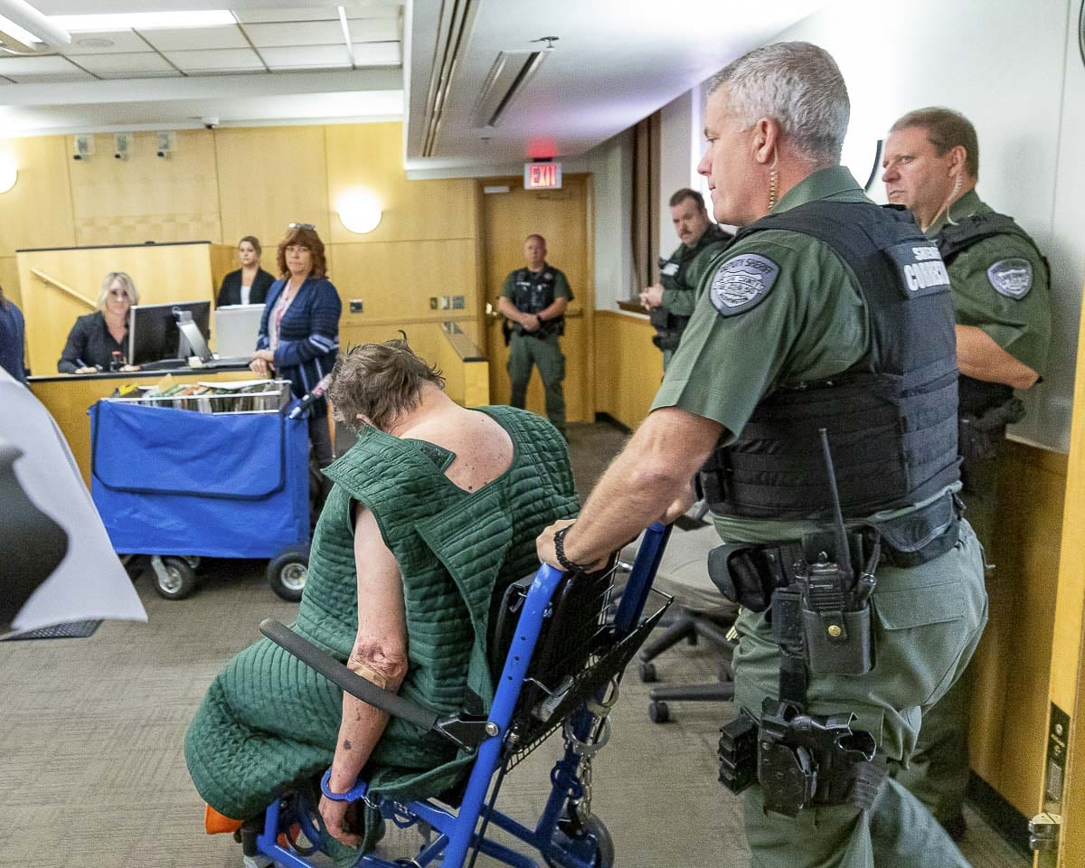 Robert E. Breck appears in Clark County Superior Court on Friday. The 80-year old is accused of shooting three people at Smith Tower apartments on Thursday, killing one of them. Photo by Mike Schultz