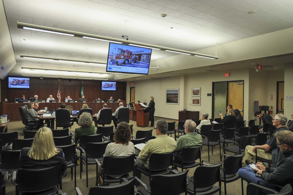 Battle Ground City Council holds the first of three public hearings regarding plans to annex into Fire District 3. Photo by Chris Brown