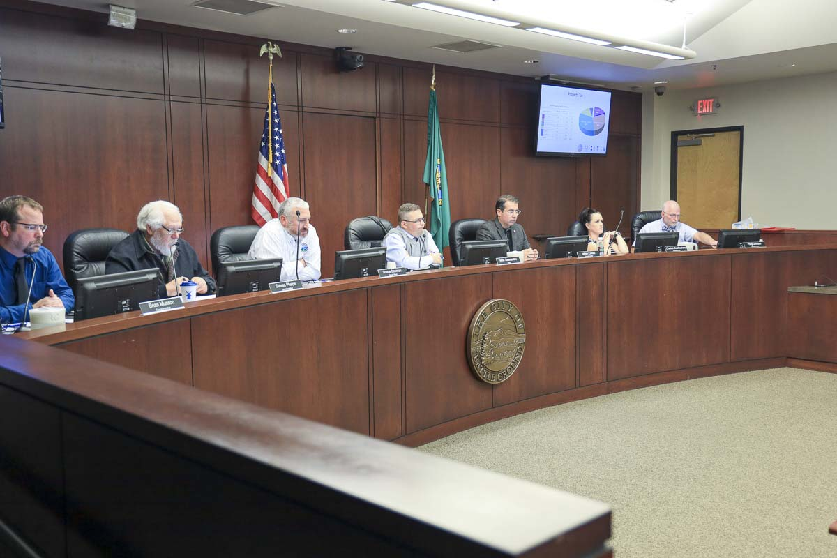 Battle Ground City Council listens to testimony during the first public hearing on the plan to annex into Fire District 3 for fire and medical services. Photo by Chris Brown