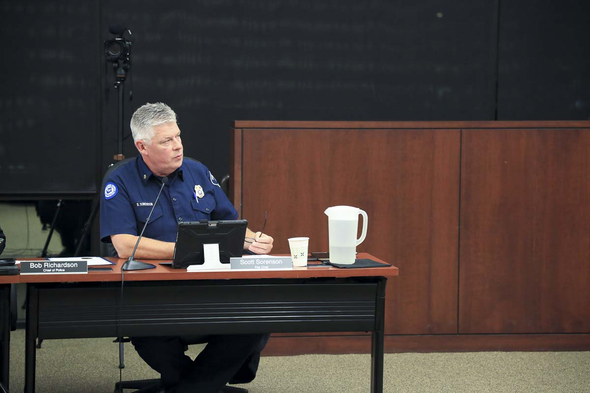 Clark County Fire District 3 Chief Scott Sorenson speaks during a hearing on Battle Ground's plan to annex fire services into the district. Photo by Chris Brown