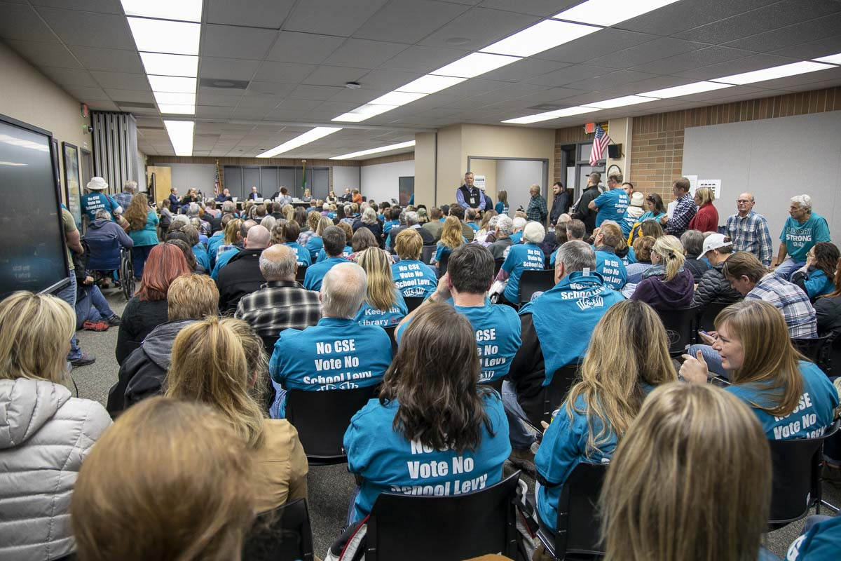 An overflow crowd gathered at the Battle Ground School District Board of Directors meeting Oct. 28 to talk about comprehensive sexual health curriculum. Photo by Chris Brown