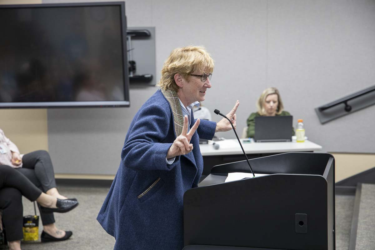 Retired Dr. Beth Lee speaks in support of new comprehensive sexual health curriculum in front of the Battle Ground School Board. Photo by Chris Brown