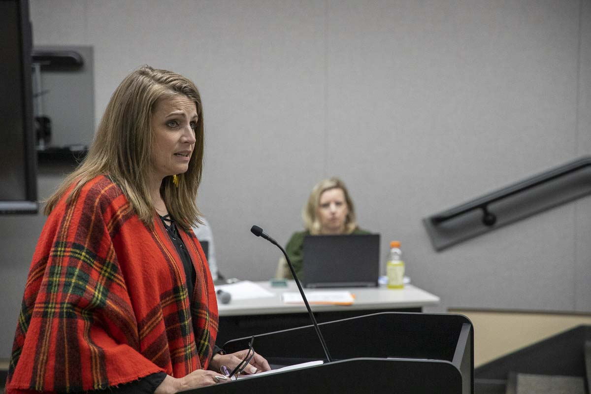 Homeschool advocate Heidi St. John speaks out against comprehensive sexual health curriculum at the Battle Ground School Board meeting on Oct. 28. Photo by Chris Brown