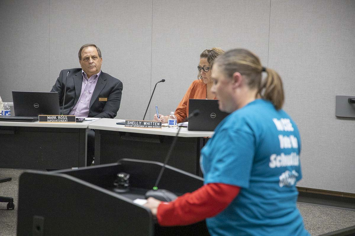 Battle Ground Public Schools Superintendent Mark Ross listens during public testimony about the district's proposed new comprehensive sexual health curriculum. Photo by Chris Brown