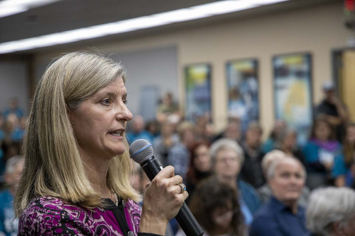 Rep. Vicki Kraft (17th District, R-Vancouver) speaks against comprehensive sexual health curriculum at the Battle Ground School Board meeting on Oct. 28. Photo by Chris Brown