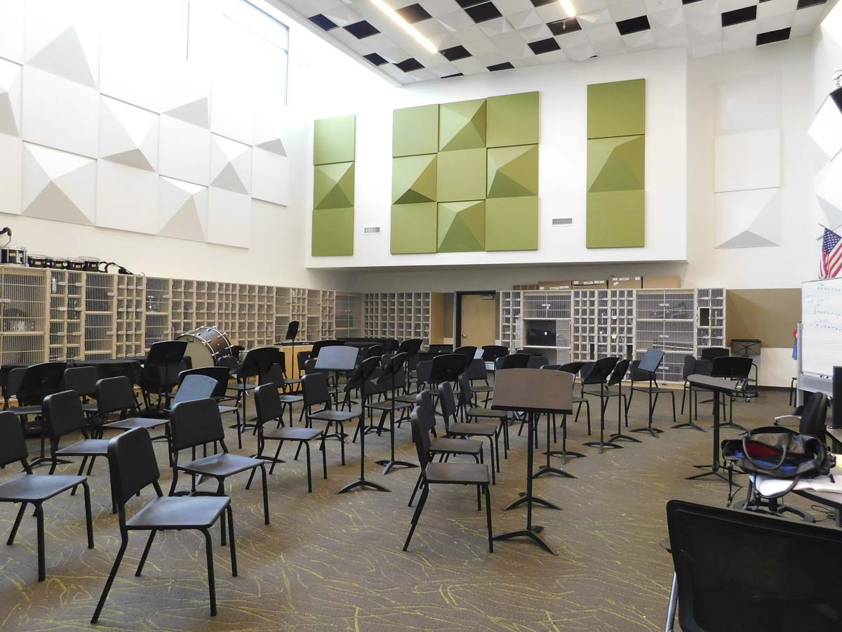 View Ridge Middle School's band classroom is designed specifically for performance, with excellent acoustics, lots of room for seating, and secure lockers for instruments. Photo courtesy of Ridgefield Public Schools