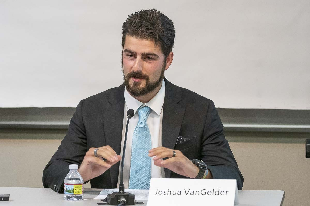 Josh VanGelder, candidate for Battle Ground City Council, Position 7, speaks at a Clark County League of Women Voters candidate forum in Dollars Corner. Photo by Mike Schultz