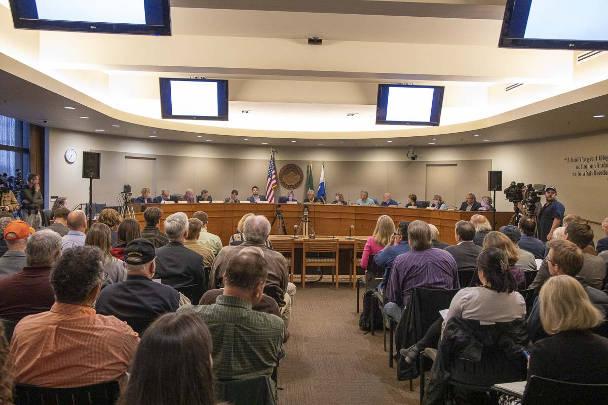 The 16-member Joint Interstate 5 Bridge Committee held their first official meeting on Friday at Vancouver City Council. Photo by Chris Brown
