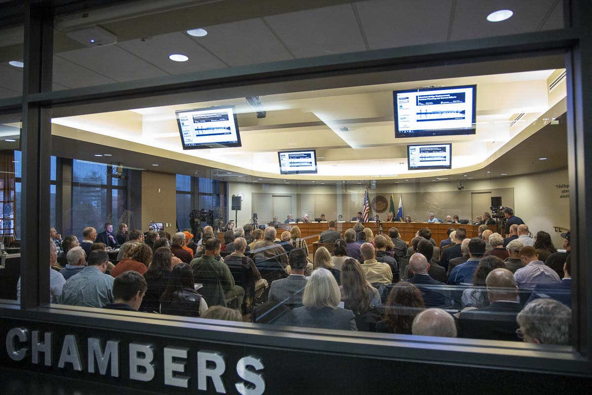It was a packed house at Vancouver City Council chambers on Friday for the first official meeting of the Joint Interstate 5 Bridge Committee. Photo by Chris Brown
