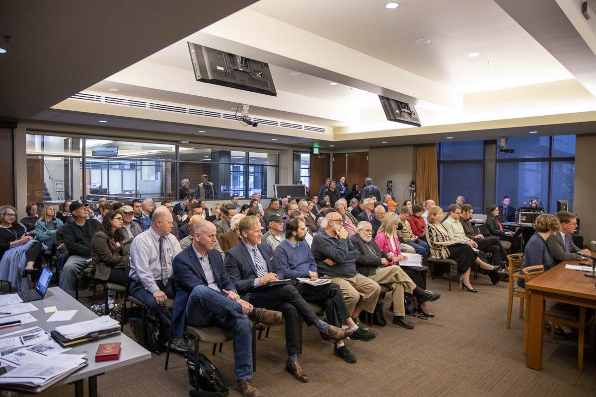 A packed house at Vancouver City Council chambers for Friday's meeting of the Joint Interstate 5 Bridge Committee. Photo by Chris Brown