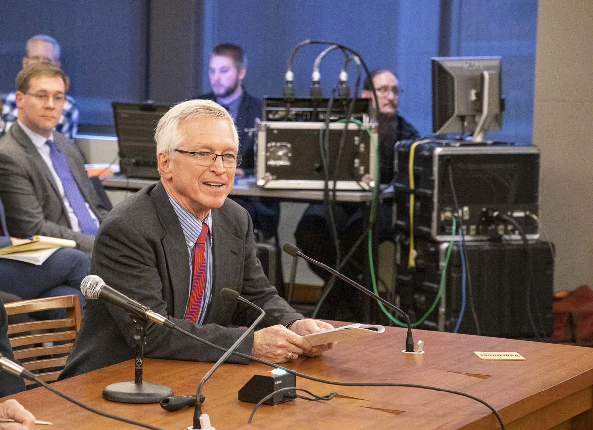 Camas resident John Ley testifies during the Joint Interstate 5 Bridge Committee meeting on Friday. Photo by Chris Brown