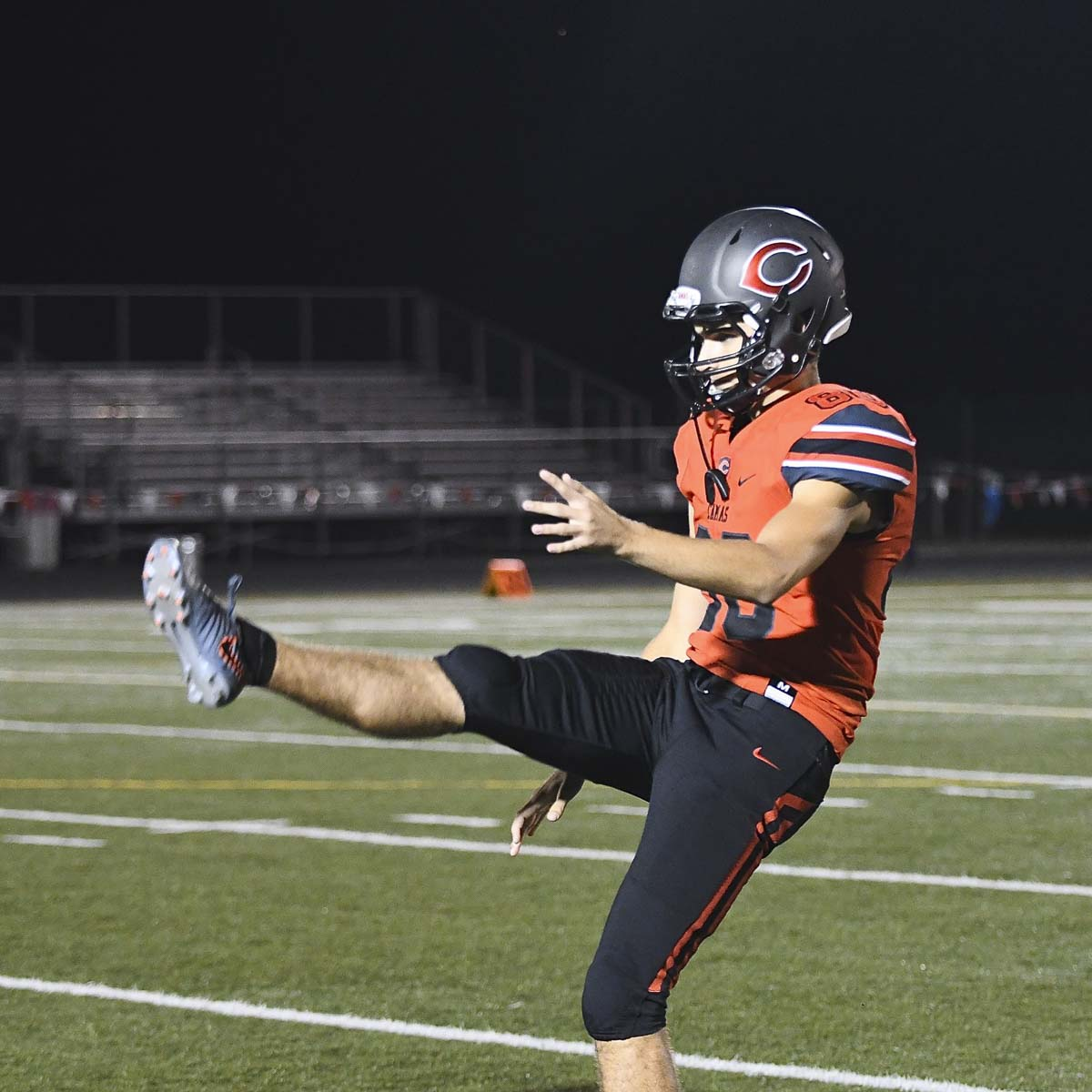 Bryce Leighton will be recognized in front of the student body Friday for his selection to the Under Armor All-American Game. The game, which brings some of the best high school football players in the nation together, will be played in January in Orlando, Fla. Photo by Kris Cavin